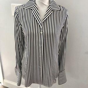 Ralph Lauren Silk Navy and White Stripe Blouse EUC